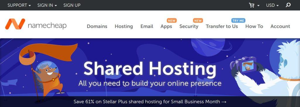 Namecheap shared WordPress hosting