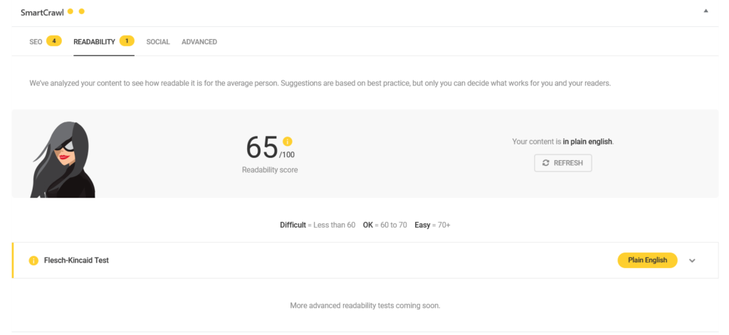 Readability score 65 out of 100. More advanced readability tests coming soon.