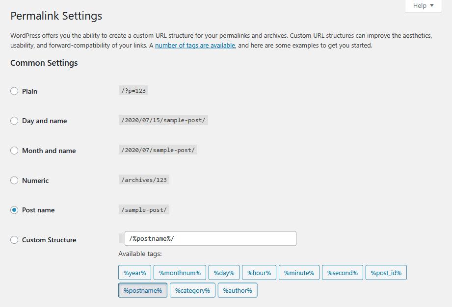WordPress permalink settings - Post name