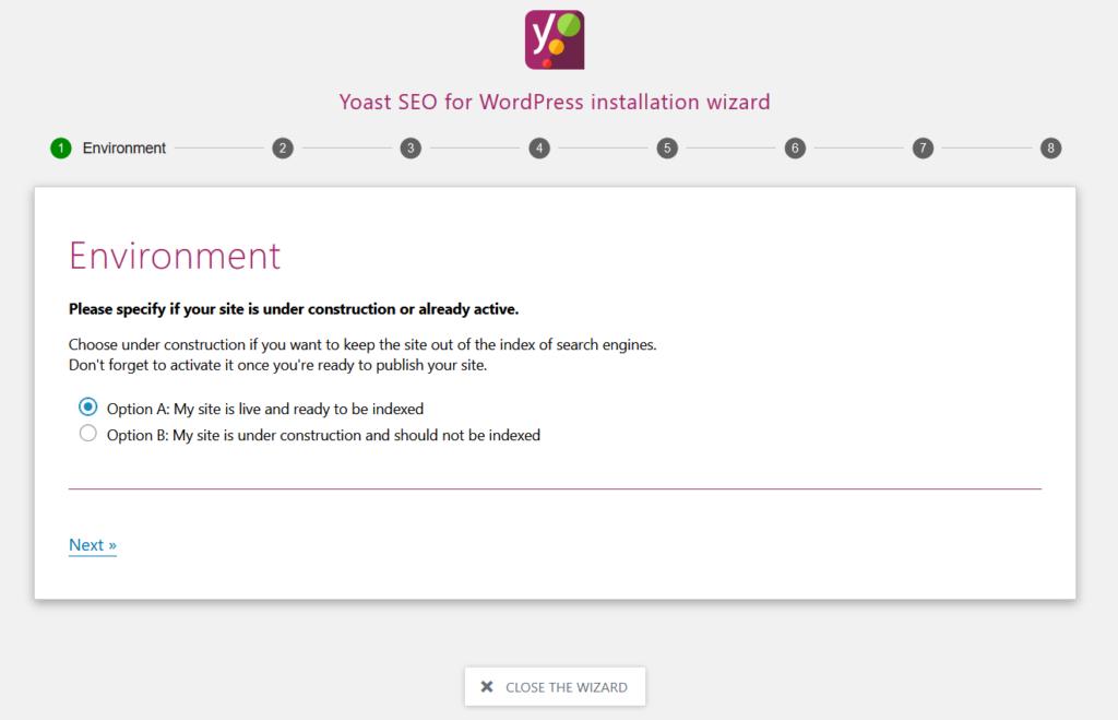 Yoast SEO for WordPress installation wizard