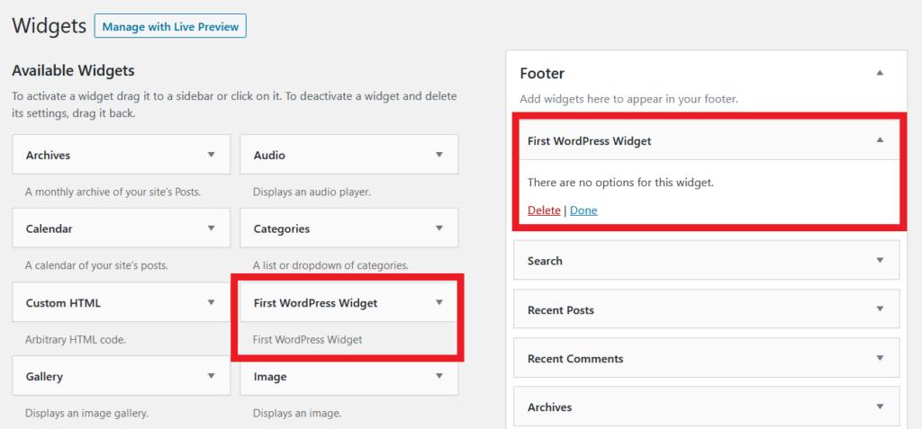 First WordPress Widget - back end
