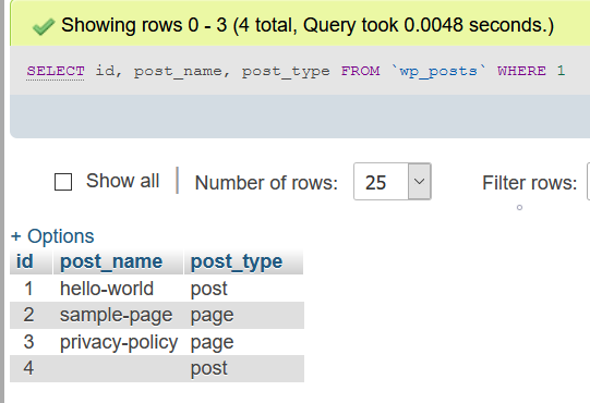 Post types post and page in a fresh install of WordPress