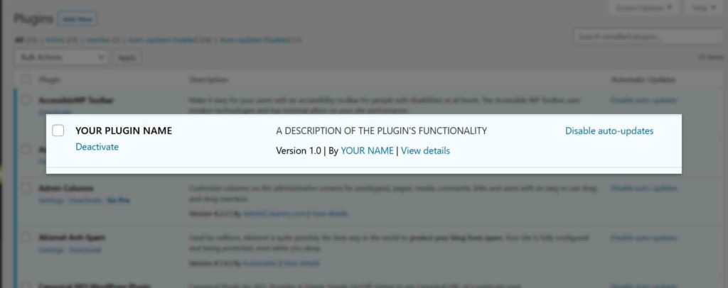 Your plugin appears in the plugin list screen