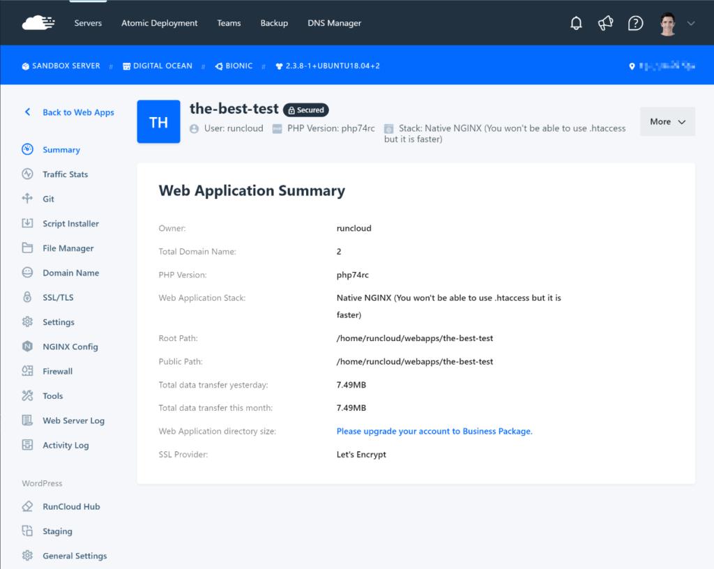 RunCloud application management