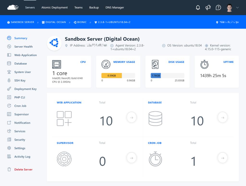 RunCloud server management