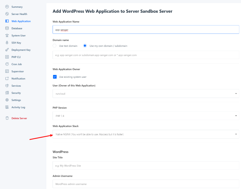 RunCloud WordPress installer