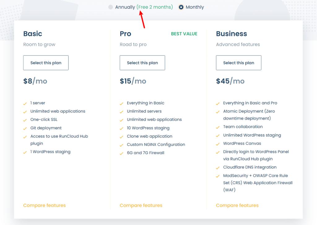 RunCloud review of pricing