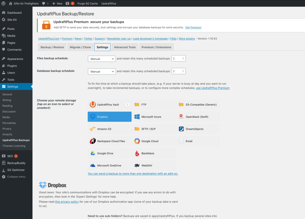 """Screenshot of UdraftPlus settings screen, with the Dropbox """"remote storage"""" location selected"""