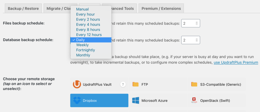 """""""Daily"""" selected to configure Updraft Plus Database backup"""