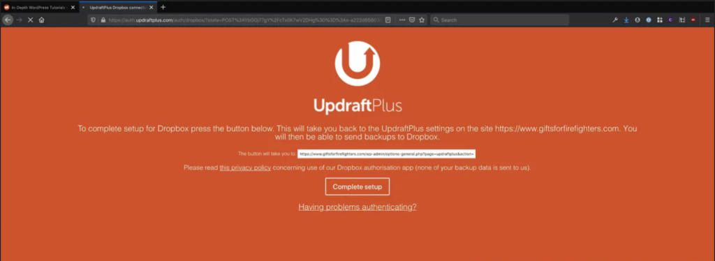 Orange screen shown by UpdraftPlus to configure Dropbox