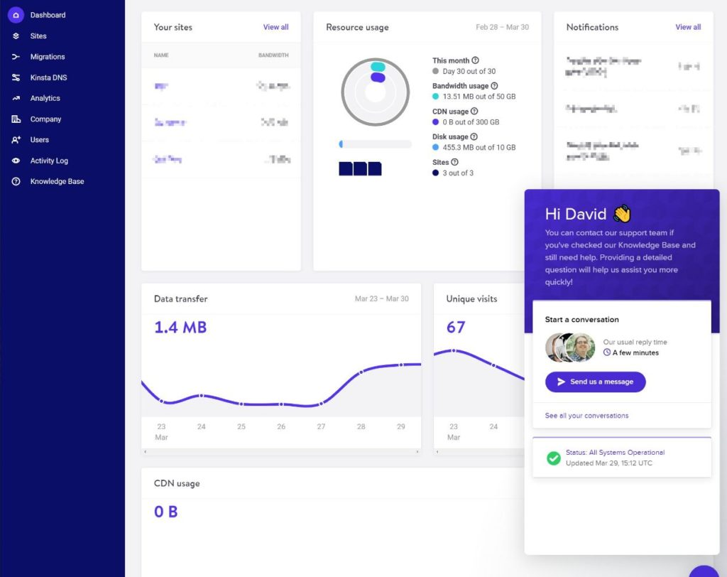 Kinsta live chat support